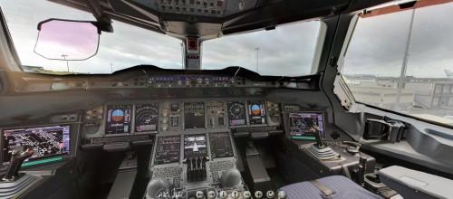 Cliquez sur la photo pour voir le Cockpit de l'A380 pour avoir une vue à 360°