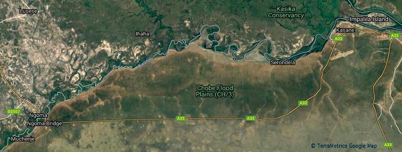 Carte de la région Chobe River