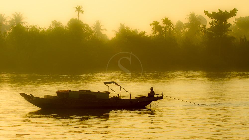 Lever du jour sur le Delta du Mékong, Vietnam